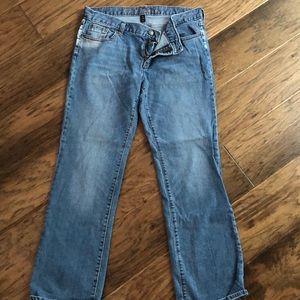 Distressed light denim jeans!